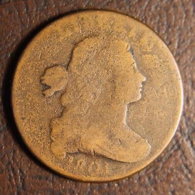 1801 Draped Bust Large Cent S-219, 3 Errors Reverse