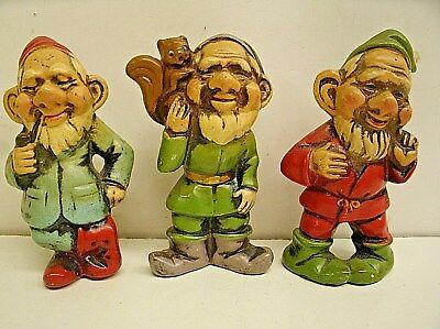 3 Vintage Elf Elves Gnome Dwarf Christmas Ornaments - Squirrel Pipe - Japan