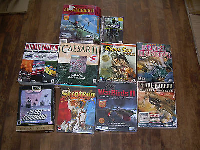 Huge lot of 10 Computer games 1990s up (2 NEW Sealed) PC CD ROM Windows 95/98