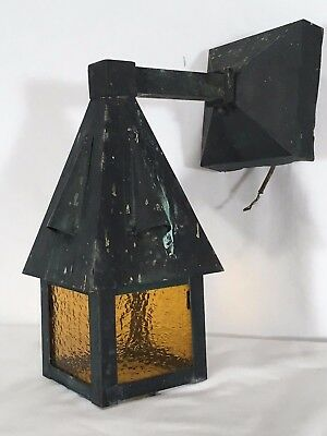 Antique 1920s Copper Tudor Porch Sconce Vtg Storybook Outdoor Wall Light Fixture