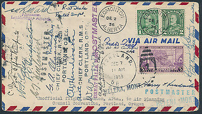 1936 Air Planning Council Convention Round Trip Cover, Edmonton to Portland