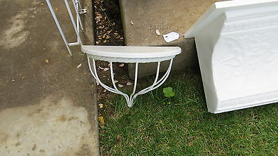 Vintage Style White Powder Coated Iron Metal & Painted Wood Vignette Wall Shelf