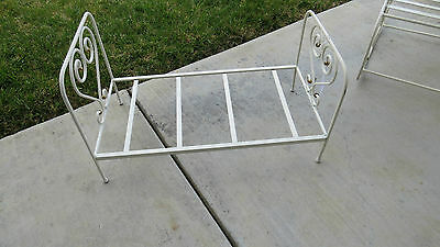 Darling Vintage Style Quality White Iron & Brass Child's HEART Doll Bed