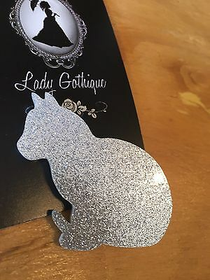 Retro Rockabilly Silver Glitter Cat Brooch
