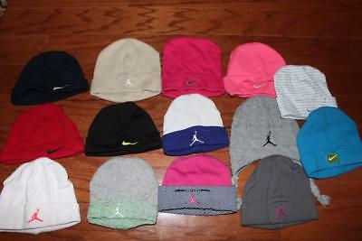 Lot Of 14 Nike Air Jordan Baby Hats Infant Beanie Caps Infant 0-3 0-6 Month Osfa