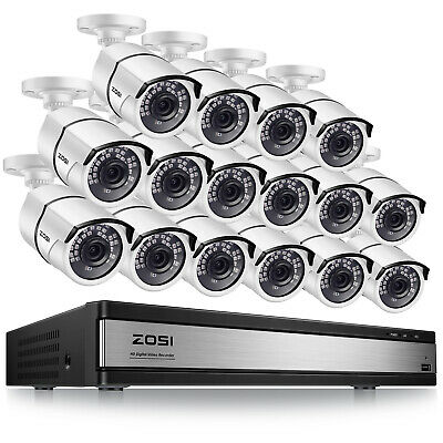 ZOSI HD 16 CH Channel 1080P Surveillance DVR 2MP Security Camera System 16CH Kit