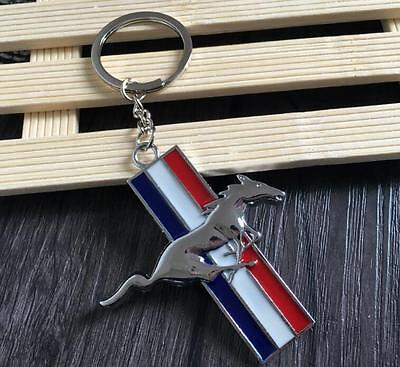 1 PCS Silver 3D Metal Horse CARKEY-RING-KEYCHAINS Key Holder For Ford Mustang