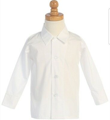 White long sleeve dress shirt for baby toddler size 24 months 2T cotton blend