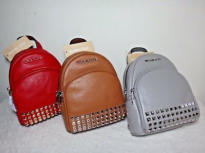9c6bcd7da682a7 NWT Michael Kors Abbey XS Studded Leather Backpack, Acorn/Pearl Grey/Red