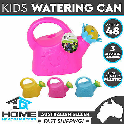 Set of 48 Kids Watering Can Garden Jug Sunflower Head Little Sprout 3 Colours