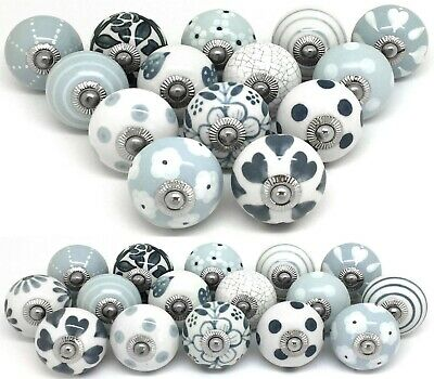 Sets of Grey & White Ceramic Door Knobs SECONDS Sets of 16, 14, 12 ,10, 8, 6, 4