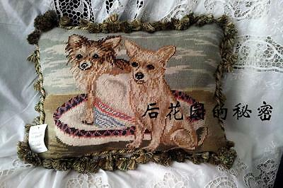 vintage woolen needlepoint canvas pillow seat cushion Holiday gift-Dog