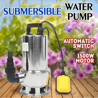 1500W Auto Submersible Dirty Water Pump Sewage Bore Tank Well Sewerage Steel NEW
