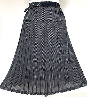Vintage Navy Blue & White Polka Dots Belted Pleated Skirt 12