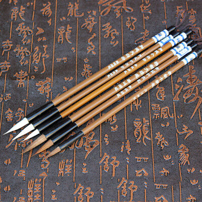 6Pcs Wolf & Goat Hair Wooden Brush Traditional Chinese Calligraphy Writing Brush