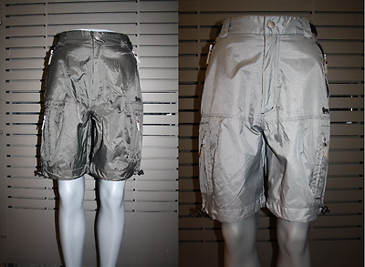 Lonsdale Ladies Trekking Shorts Caldey Silver and Dark Green Shiny Robust RARE
