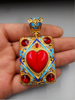 China  Old Tibet Silver  Cloisonne  gemstone  Pendant