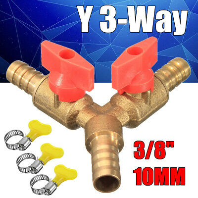 """3/8"""" 10mm Brass Y 3-Way Shut off Ball Valve Fitting Hose Handle Clamp Fuel Gas"""