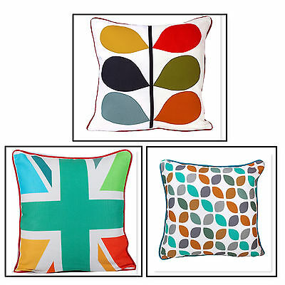 """100% Cotton Digital Printed Cushion Covers Modern Style piped Edge Size 16"""" 18"""""""