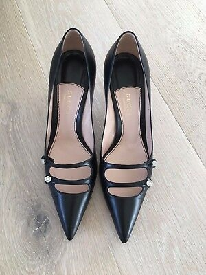 Gucci Black Leather Heels | Size 37.5 | 75mm | Excellent Condition - with box