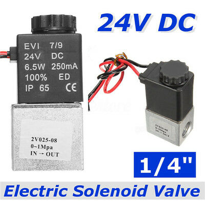 "24V DC1/4"" 2 Way Electric Air Water Fast Response Solenoid Valve Normally Closed"