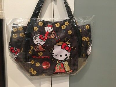 Sanrio Japan Hello Kitty Kimono Cherry Blossom Black Manufatto Bag