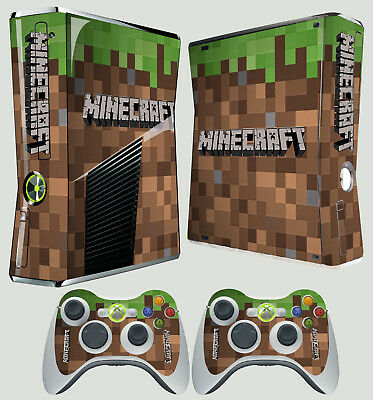 Xbox 360 Slim Sticker Grass Block Dirt Style Steve Graphic Kit Skin & 2 Pad Skin