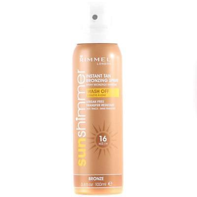 Rimmel Sunshimmer Instant Tan Spray Bronze 100ml 16 Hour Transfer Resistant