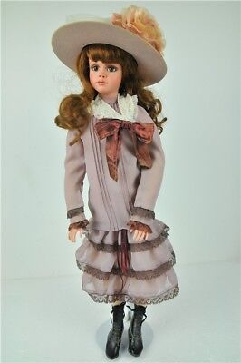 """JAN MCLEAN PORCELAIN DOLL In Box Girl Brown Hair 23"""" Tall Collectable"""