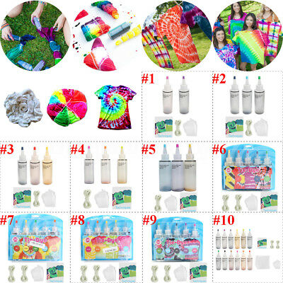 10 Groups 2/3/5/12 Bottles Colorful Tie Dye Kit + Rubber Band + Vinyl Gloves