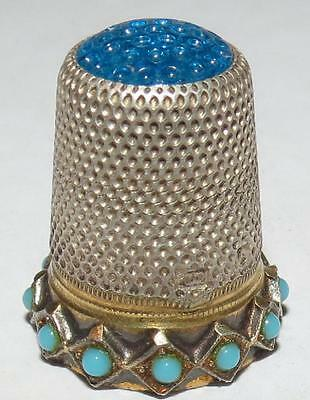 Antique Gold, Silver & Turquoise Thimble