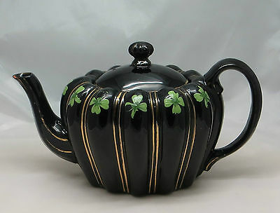 Large Black 'lobed' Style Teapot Decorated With Four Leaf Clover & Gilding 4358