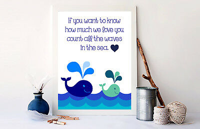 Whale Nursery Decor Art Print for Boys Room or girls room-Count all the Waves