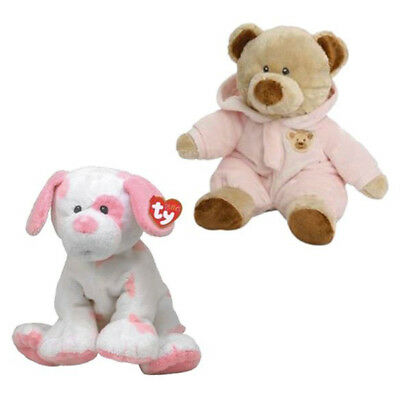 "2 x New Ty Pluffies 8"" Soft Toy Bundle Baby Pups Puppy & Pj Bear In Pink Pyjama"