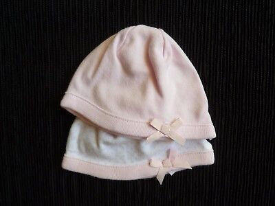 Baby clothes GIRL premature/tiny<7.5lb/3.4kg NEW! x2 hats white spots/pink bows
