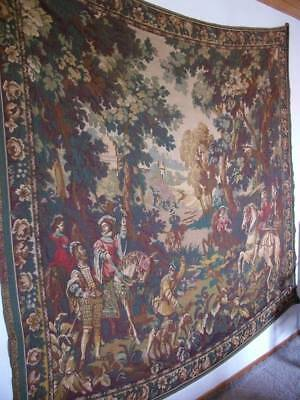 """Magnificent Antique French Chateau Tapestry """"The Chase""""  6ft 8"""" x 6ft .6"""""""