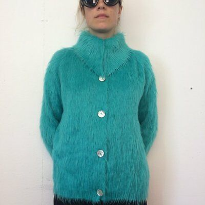 Vintage 70s Turquoise Mohair Fluffy Retro Furry Jumper Wool Cardigan 10 12