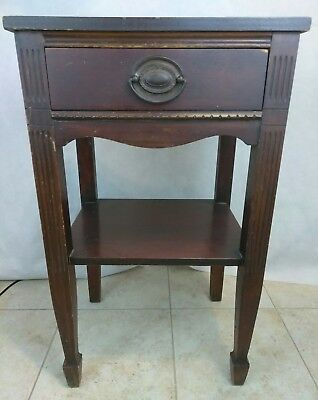 Antique 4 Leg Night Stand Bedside Lamp Table