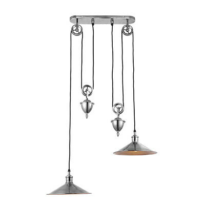 Antique Silver Rise and Fall Twin Pendant light