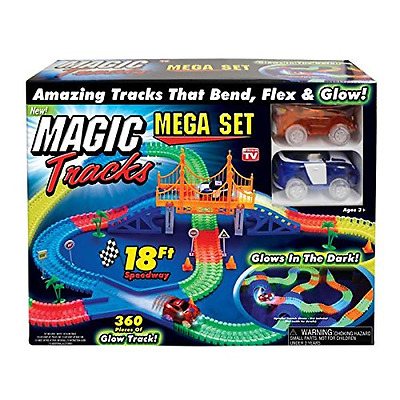 Magic Tracks 18 ft. Mega Set With LED Race cars Colorful Glow In The Dark