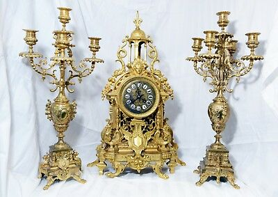 Magnificent Gilded Bronze Antique French Mantle Clock And Candelabras