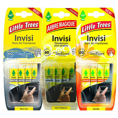 Little Trees Invisi Vent Air Fresheners Vanilla New Car Anti Tobacco 4 Pack