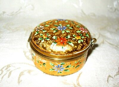 Bohemian Czech Gold Enameled Cranberry Colored Glass Pill Box (Moser?)