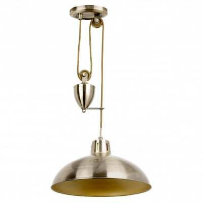 Contemporary Antique Brass Rise and Fall Pendant light