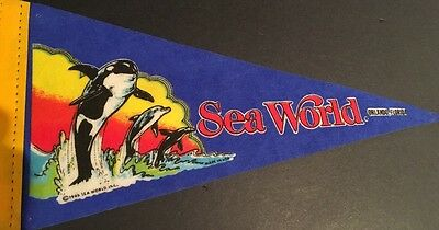 "Vintage Sea World Orlando, Florida 1985 Felt Pennant 12"" - RARE Collectible"
