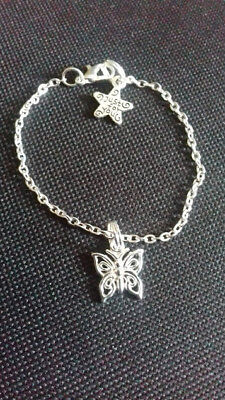 NEW Little Girl's Silver Plated Bracelet and extender Childrens Butterfly Pretty