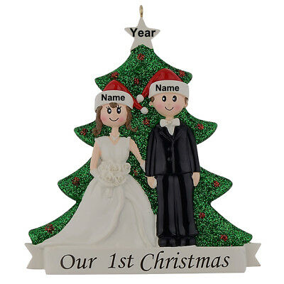 MAXORA Our 1st Christmas Wedding Couple Personalized Ornament Wedding Gift 2018