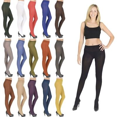 Womens Opaque Tights 40 & 100 Denier plus size black nude white V1