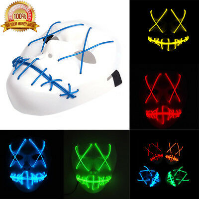 The Purge Movie EL Wire Mask LED Light Up DJ Party Festival Halloween Costume UK