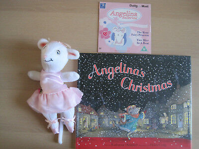 """Angelina Ballerina 8"""" Soft Toy Angelina's Christmas HB Book and DVD"""